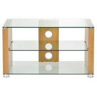 TTAP L611 1000 3O Elegance 1000mm TV Stand in Light Oak with Clear Gla