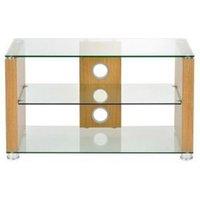 TTAP L611 1200 3O Elegance 1200mm TV Stand in Light Oak with Clear Gla