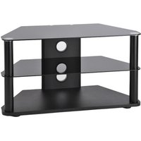 TTAP C301 CR8003 Classik 800mm Corner TV Stand in Satin Black with Gla