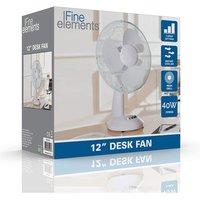 Fine Elements 12 Oscillating Desk Fan in White 12 Oscillating Desk Fan