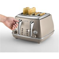 Buy Delonghi CTOE4003 BG Icona Elements 4 Slice Toaster in Beige Extra Lif - Sonic Direct