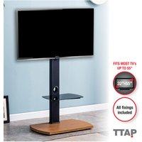 TTAP FS1 OAK Pedestal Floor Stand with Shelf in Light Oak
