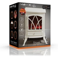 Daewoo HEA1201GE 1850W Real Flame Effect Electric Stove Fire in Cream