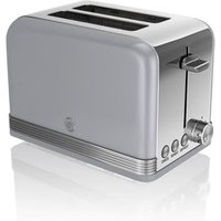 Buy Swan ST19010GRN 2 Slice Retro Style Toaster in Grey Chrome - Sonic Direct