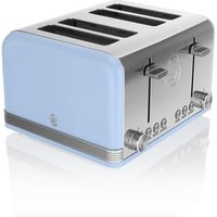 Buy Swan ST19020BLN 4 Slice Retro Style Toaster in Blue Chrome - Sonic Direct