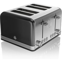 Buy Swan ST19020BN 4 Slice Retro Style Toaster in Black Chrome - Sonic Direct