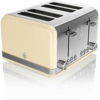 Buy Swan ST19020CN 4 Slice Retro Style Toaster in Cream Chrome - Sonic Direct