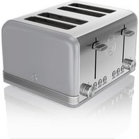 Buy Swan ST19020GRN 4 Slice Retro Style Toaster in Grey Chrome - Sonic Direct