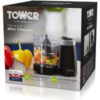 Tower T12030 Mini Chopper with Plastic Bowl in Black 120W Motor