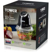 Tower T12032 Mini Chopper with Glass Bowl in Black 500W 2 Speed
