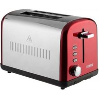 Tower T20014R 2 Slice Toaster in Red St Steel Variable Browning