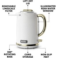 Breville VKT185 Flow Cordless Jug Kettle in White Gold 1 7L 3 0kW