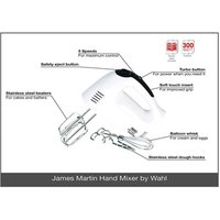 Wahl ZX822 James Martin Hand Mixer with Dough Hooks and Whisks