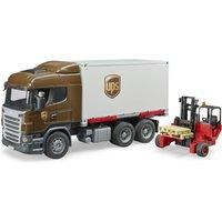 Bruder Scania R-Serie UPS Logistik-LKW mit Stapler