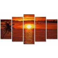 Malen nach Zahlen Sonnenuntergang Karibik Polyptyc