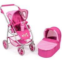 Kombi Puppenwagen Set Dots Pink