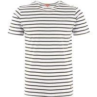 Breton Striped Mariniere T-Shirt - White & Aquilla
