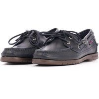 Schooner Waxed Leather Boat Shoes - Navy
