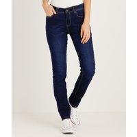Mooie slim fit jeans met een donkere wassing voor dames. de jeans beschikt over riemlussen, ritssluiting met ...