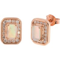 9ct Rose Gold 0.30ct Opal & 0.30ct Diamond Cluster Earrings