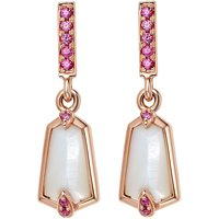 18ct Rose Gold 0.70ct Mother Of Pearl & Pink Sapphire Small Nova Drop Earrings