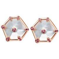 18ct Rose Gold Mother Of Pearl & Pink Sapphire Nova Fancy Stud Earrings