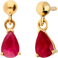 9ct Gold 1.00ct Ruby Drop Earrings