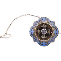 Antique Late Victorian Gold Split Pearl & Diamond Brooch