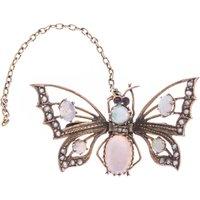 Antique 9ct Yellow Gold Opal & Split Pearl Butterfly Brooch
