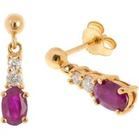 9ct Gold 0.90ct Ruby & Diamond Drop Earrings