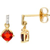 9ct Gold Garnet & Diamond Drop Earrings