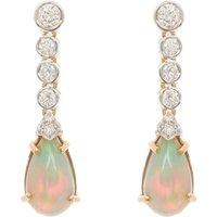 18ct Gold 4.00ct Opal & Diamond Drop Earrings