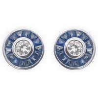 0.34ct Diamond & Sapphire Halo Stud Earrings
