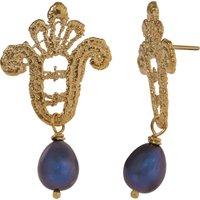 18ct Gold Vermeil Lace & Black Pearl Drop Earrings