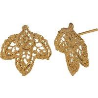 18ct Gold Vermeil Lace Leaf Stud Earrings