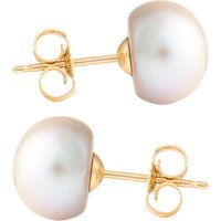 9ct Gold 8mm Freshwater Silver Button Pearl Earrings