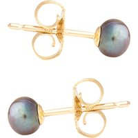 9ct Gold 4mm Freshwater Black Button Pearl Earrings