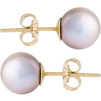 9ct Gold 8mm Freshwater Silver Pearl Earrings