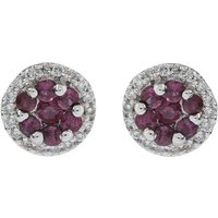 18ct Gold 0.30ct Ruby & Diamond Cluster Earrings
