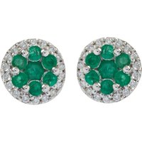 18ct Gold 0.15ct Emerald & Diamond Cluster Earrings