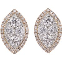 18ct Gold 1.50ct Diamond Cluster Earrings