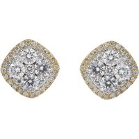 18ct Gold 1.48ct Diamond Cluster Stud Earrings