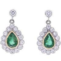18ct Gold Emerald & Diamond Cluster Drop Earrings