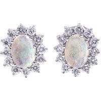 18ct Gold Opal & Diamond Oval Halo Stud Earrings