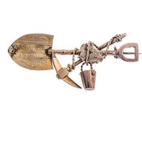 Antique Victorian 9ct Gold Miners Brooch