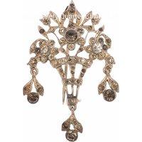 Antique Victorian Sterling Silver Flower Basket Brooch