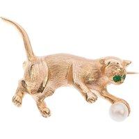 9ct Gold Emerald & Pearl Cat Brooch