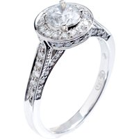 18ct White Gold 1.00ct Certificated Diamond Halo Cluster Ring 3174WG/100-18 N