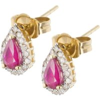 Image of 18ct Diamond Ruby Pear Shaped Studs VE0S604 18KY-RUBY