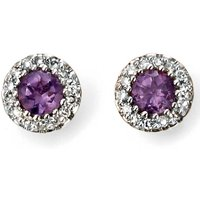 Image of 9ct Gold Amethyst and Diamond Round Cluster Studs GE2027M
